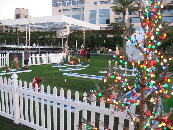Holiday by the Bay in front of the Hilton San Diego Bayfront opened on Thanksgiving. There is an ice rink, Christmas-themed miniature golf and many colorful lights.