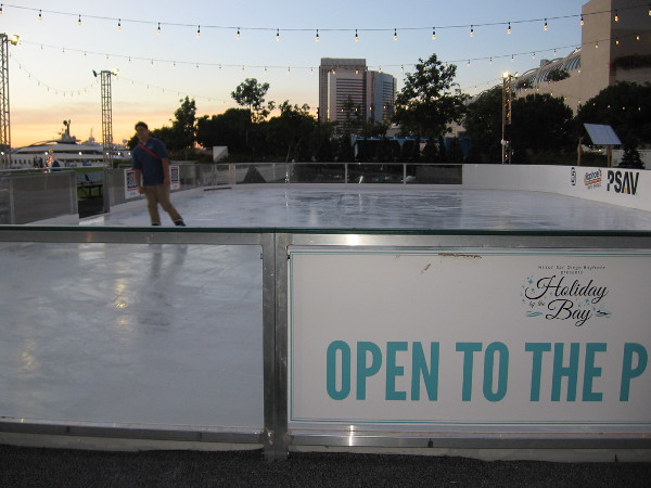 It's early evening. Someone enjoys the ice rink on San Diego's beautiful waterfront.