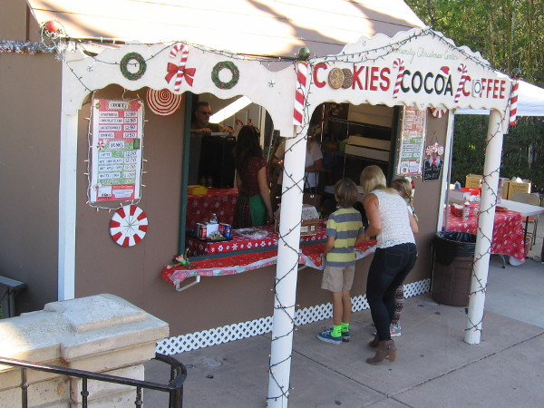 As the evening becomes chilly, a line will form at the Gingerbread House for cookies, cocoa and coffee.