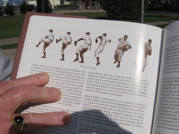 The banner depicting pitcher Eddie Erautt is based on one of these old baseball photos.