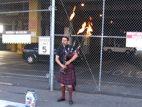 These flamethrowing bagpipes drew a lot of attention at the base of Navy Pier!