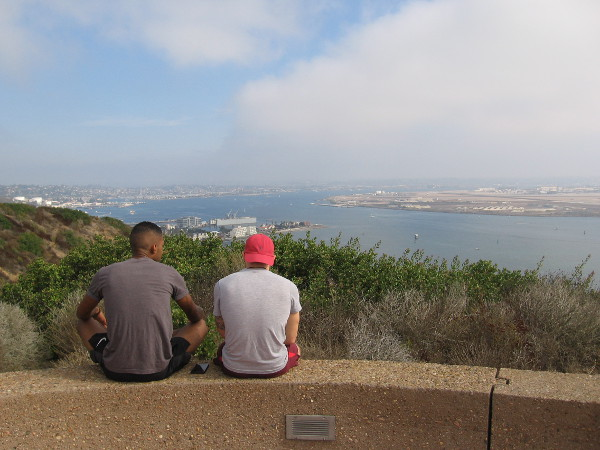 Gazing down at San Diego Bay from Cabrillo National Monument on Point Loma.