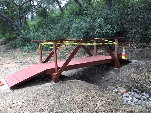 Boy Scout Joshua Ortega finished a footbridge in the grove just days before his 18th birthday. He is now attending Pepperdine University.