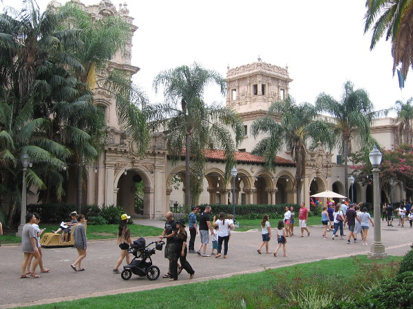 Visitors to Balboa Park enjoy a walk along El Prado, near the Casa de Balboa and House of Hospitality.