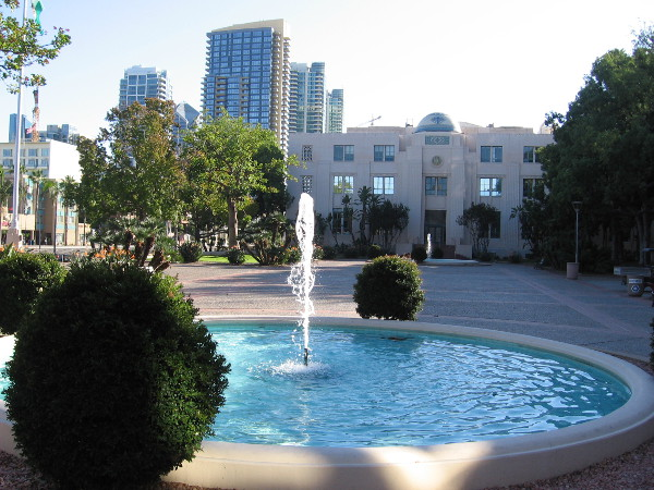 A fountain on the east side of the County Administration Building.