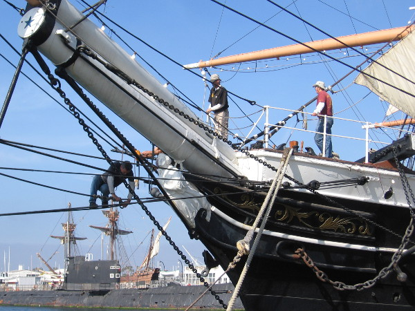 Volunteers work on the Star of India, world-famous tall ship of the Maritime Museum of San Diego.