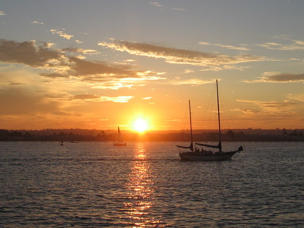 Sunset and sailboats on San Diego Bay.