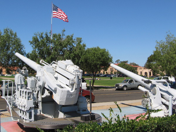 Guns once used to train Navy sailors. Relics from history at Liberty Station, site of the former Naval Training Center San Diego.