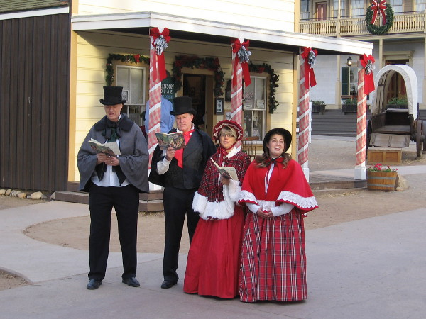 The Dickens Carolers sing during the annual Las Posadas event in Old Town San Diego State Historic Park.