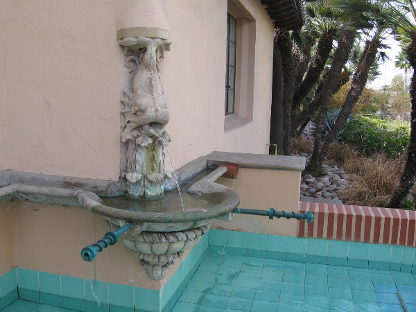 A fountain near the entrance of San Diego's Old Police Headquarters, now a destination for shopping and dining. I visited the building decades ago in the 1980s. I suppose the fountain is original, but I cannot remember.