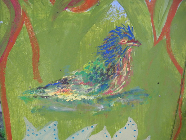 A colorful bird painted on a utility box near Pantoja Park seems just as alive as it was when I first saw it years ago.