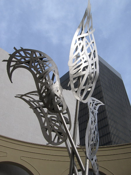 A sculpture titled Flame Flower stands in front of the Westin Gaslamp. Years ago, an obelisk once rose here--5 or 6 or 7 years ago. I can't remember exactly.