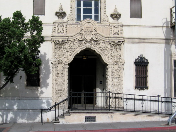 The front of the YWCA building on C Street has remained unchanged since its design in 1926. The ornate Spanish Colonial Revival architecture was made popular by the 1915 Panama-California Exposition in Balboa Park.