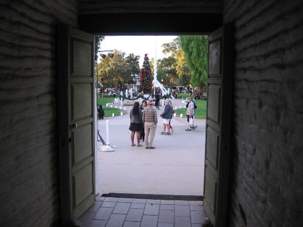 Looking out the front door of the Casa de Estudillo at Old Town San Diego's big Christmas tree.