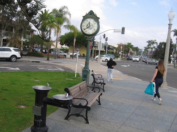 Rotary Plaza in Coronado includes several interesting features, including a clock, fountain and community Christmas tree.