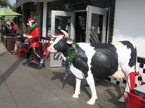 Elvis and cow in front of MooTime Creamery are decked out for Christmas.