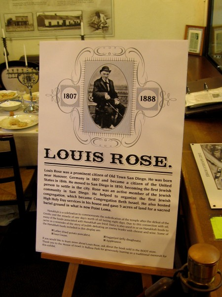 A special holiday display inside the Robinson-Rose Visitor Center talks about Louis Rose, the first Jewish person to settle in San Diego.