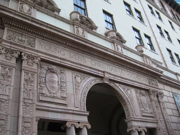 Front of the 1924 Army-Navy YMCA building in downtown San Diego, designed by architects Lincoln Rogers and Frank W. Stevenson.