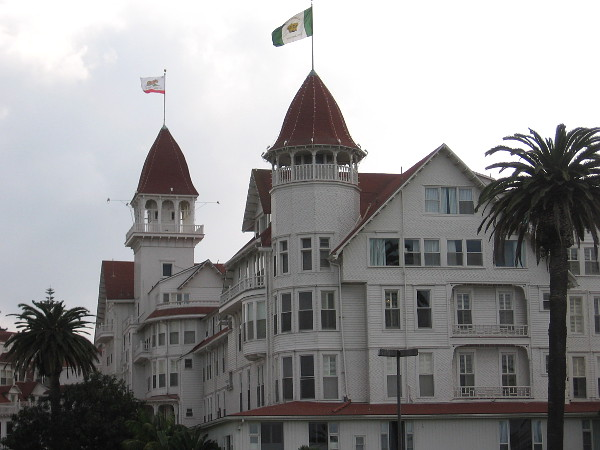 A zoom photo of the amazing Hotel del Coronado from a block or two up Orange Avenue.