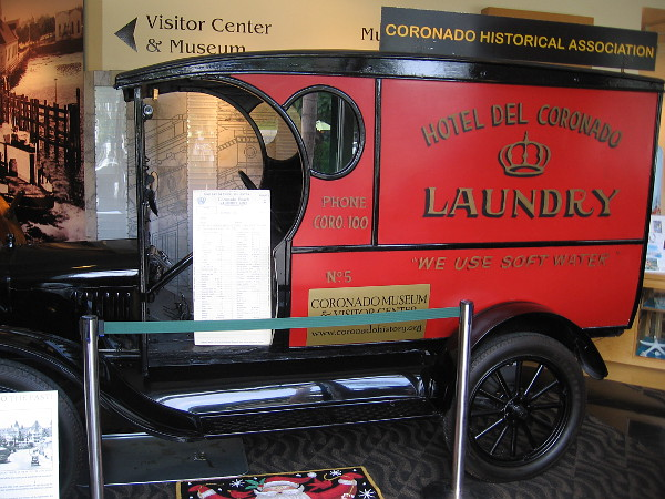 Inside the front door of the Coronado Museum of History and Art one can see a Model T Laundry Truck once used at the Hotel del Coronado.
