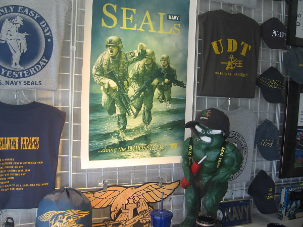 SEAL gifts and memorabilia for sale in the window of Bullshirt. Nearby Naval Amphibious Base Coronado is home to several SEAL teams.
