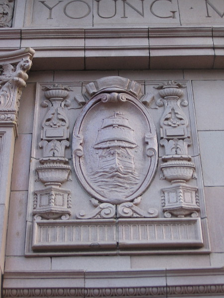 I believe this represents Cabrillo's ship San Salvador, which entered San Diego Bay in 1542.