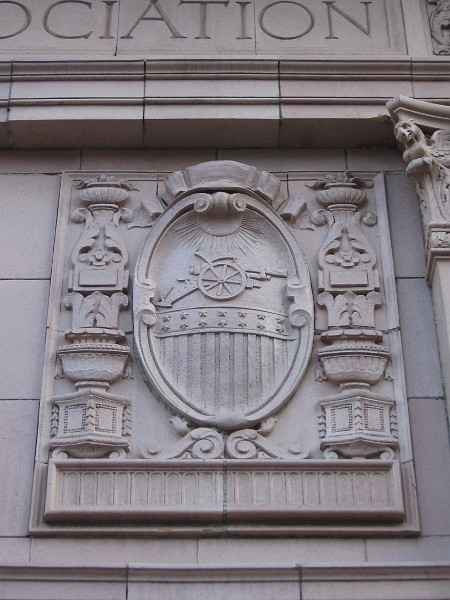 Part of the ornate front entrance to the landmark Army-Navy YMCA building in San Diego.