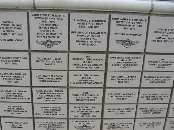 Names on the Memorial Wall include United States Navy Vice Admiral James B. Stockdale.