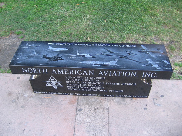I was told that two new marble benches outside the entrance of the San Diego Air and Space Museum are about one month old. They were donated by North American Aviation, Inc.