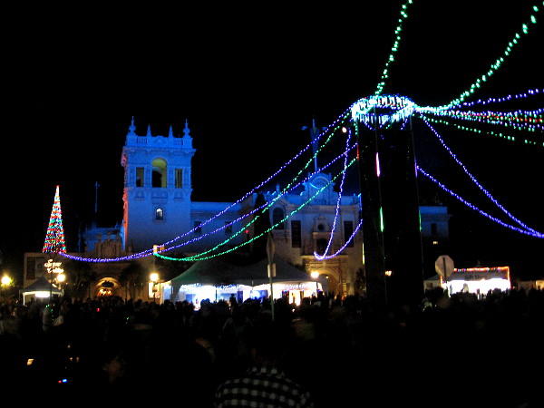Strings of lights radiate from the center of Plaza de Panama during December Nights.