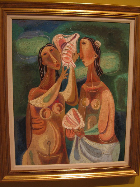 Young Girls with Shells, Duco on canvas, 1945. Mario Carreno, Cuban, 1913-1999.