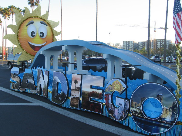 This sunny San Diego float stood empty early in the morning on Harbor Drive.