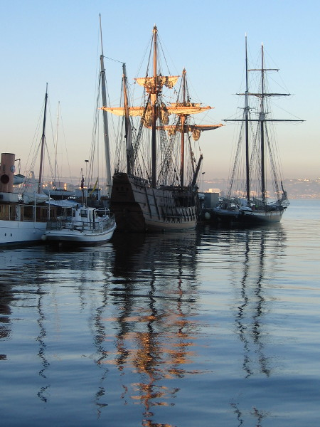 San Salvador in morning light, and its magical reflection in San Diego Bay.