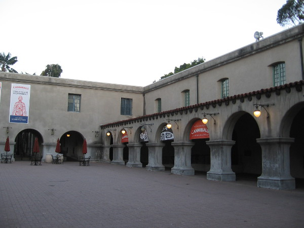 Photo toward the southeast corner of the California Quadrangle shows Mission Revival style arches.