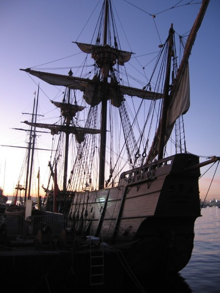 Photo of the San Salvador shortly after sunset. The amazing tall ship is a replica of the galleon commanded by explorer Cabrillo in 1542.
