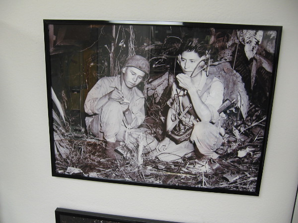 Navajo Code Talkers Henry Bahe and George Kirk working their radio in the jungles of Bougainville.