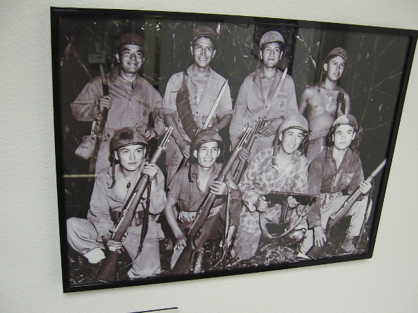 Eight Navajo Code Talkers on Bougainville. Most hold an M1 Garand used in combat.