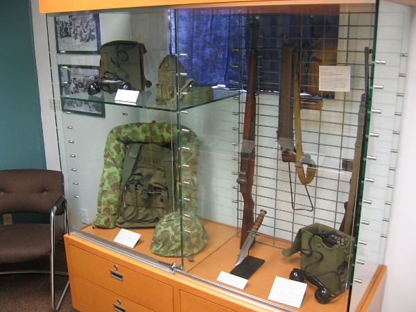 Display case in the special Flying Leatherneck Aviation Museum exhibit includes military field equipment used by the Navajo Code Talkers during World War II.