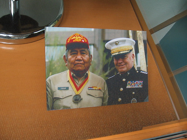 Navajo Code Talker Samuel Tsosie Sr., pictured with Alfred M. Gray Jr. during an award assembly in 2009. Gray served as the 29th Commandant of the Marine Corps from 1987-1991.