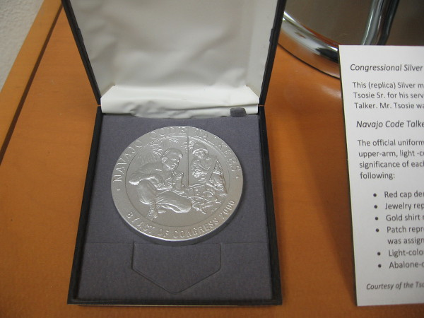 Replica of Congressional Silver Medal represents the medal received by Samuel Tsosie Sr. for his service during World War II. 300 Navajo received the Silver medal.