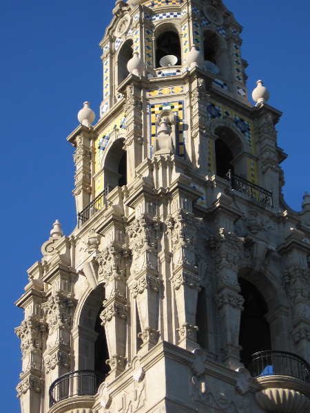 The ornate upper levels of the California Bell Tower.