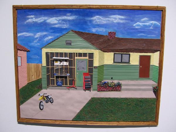 The Garage, Bobby Dean Evans, Jr., mixed media on cardboard, 2016.