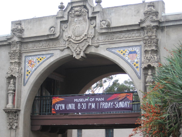 Elaborate ornamentation around the archway outside the east side of the California Quadrangle.