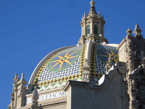 Colorful dome tiles, part of the Spanish Colonial Revival masterpiece of exposition architect Bertram Goodhue.