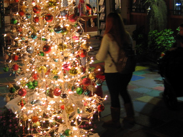 One of many beautiful Christmas trees on the Spanish Village Art Center outdoor patio.