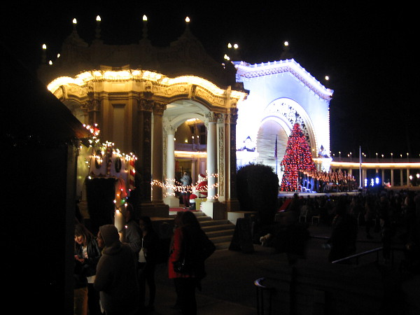 The center of December Nights is the Spreckels Organ Pavilion, where joyful entertainment continues into the night.