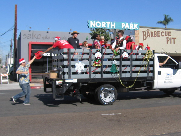 This fun parade entry sported a miniature North Park landmark sign.
