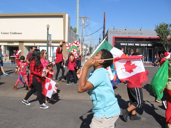 A Mexican and Canadian flag, and a really good time. I believe these are kids at Jefferson Elementary Steam Magnet.