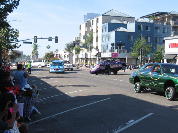 The parade crowd loved these crazy cars.