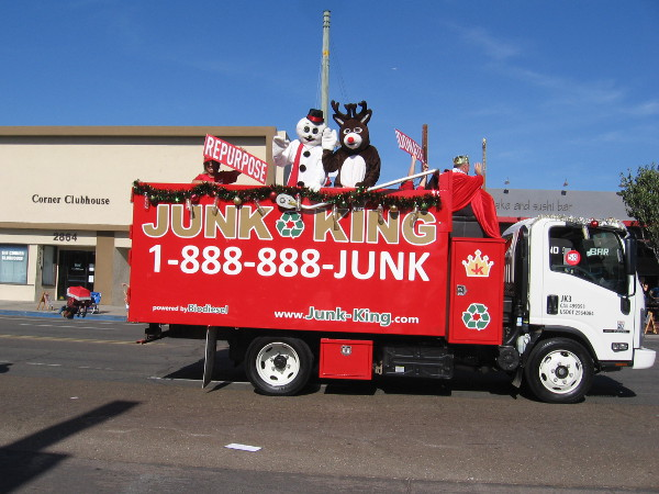 Everyone is in the North Park holiday parade. Even the Junk King!